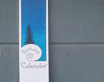 Perpetual Birthday Wall Calendar – trees and stars