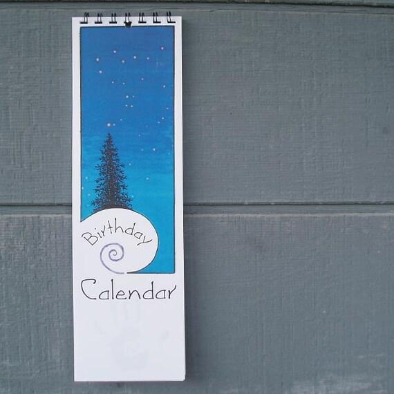 Perpetual Birthday Wall Calendar – trees and stars