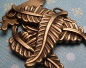 Bronze Metal Leaf Charm 30x10mm - 4pc