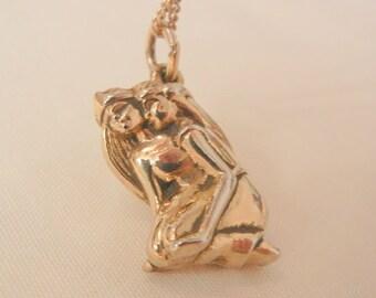 Rare Art Nouveau style Egyptian Couple pendent GF Necklace
