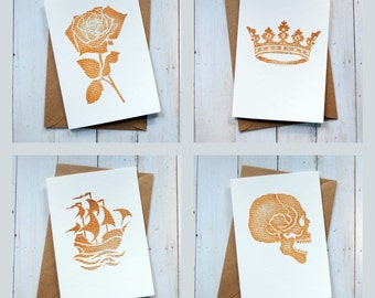 Shakespeare Note Card Set - 8 Shakespeare Cards - Thank You Cards - Party Invitations - Blank Cards With Envelopes - Skull Rose Ship Crown