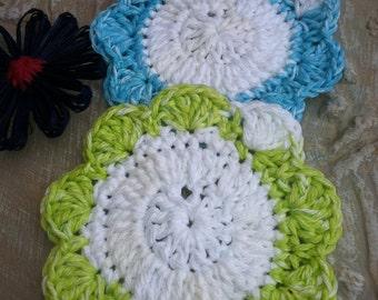 Coaster, Cozy, Mug Rug, Lime Green, Turquoise and White