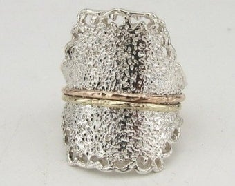Jewela Unique Silver Gold Spinning Ring size 8 (d r1313)