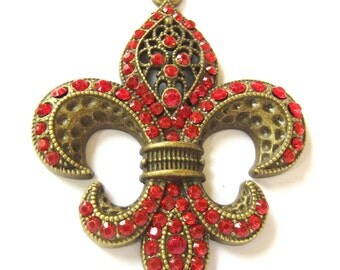 Focal Fluer De Lis pendant antique bronze charm red rhinestones jewelry enhancer 63mm x 82mm 7mm  B0452