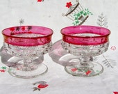 Antique Ruby Red Cranberry Depression Glass Sherbet Dishes, Kings Crown Thumb Print Tiffin Glass, Pressed Glass, ice cream hot fudge sundae