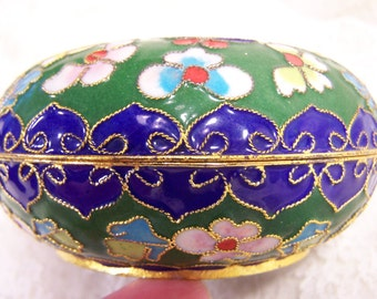 Enamel Jewelry Keepsake Box, Vintage Metal Trinket Box, Colorful Chinese Blossom Container, Ring Box Casket, Shabby Chic Cloisonne Container