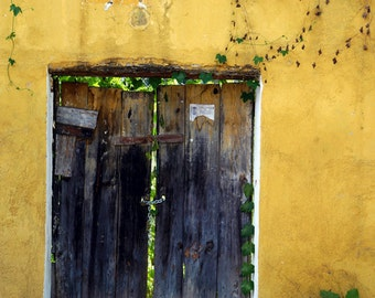 Mexico Photo Southwestern Style Santa Fe Photograph Rustic Door Yellow Wall Ocher Gold Vintage lat17