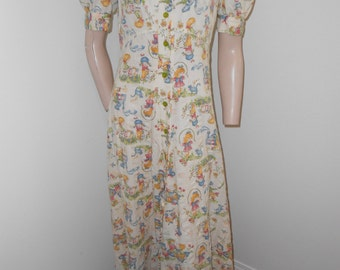 Cottage Country Print S/S 70's Button-up Maxidress - Size S-M