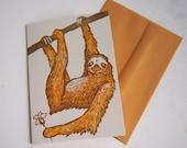 Sloth Woodcut Greeting Card