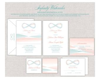 Infinity Wedding Invitation, Watercolor Wedding Invites, Peach and Teal Wedding, Iceam Wedding, Beach Wedding, Sunset Wedding Invitation