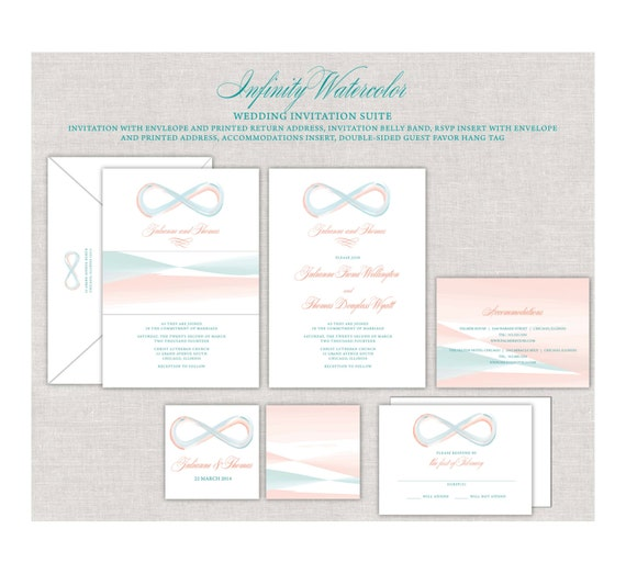 Infinity Wedding Invitation Watercolor Invites Peach