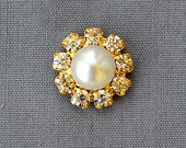 20 Rhinestone Button Brooch Embellishment Crystal Pearl Bridal Brooch Bouquet Wedding Invitation Cake Decoration Gold DIY BT599