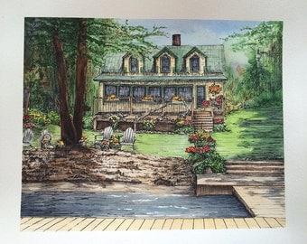 "Custom Home Drawing - 8"" x 10"""