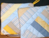 POT HOLDERS (#17) Blues Yellows String Design, US Made, Americana, Patchwork, Modern, Contemporary,  Traditional Quilt Pattern,