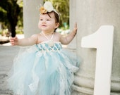 Sweet Sophistication Flower Girl Dress, shown in Blue with Ivory Lace