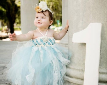 Sweet Sophistication Flower Girl Dress, shown in Blue with Ivory Lace, 1st Birthday Dress, Pageant, Princess Dress, Vintage, Shabby Chic