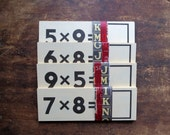 25 vintage flash cards, multiplication flash cards, flashcards, back to school, number flash cards, mathematics, math, numbers, 1970's cards