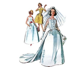 1960s Wedding Dress Sewing Pattern Bell Skirt, Detachable Train and Sheer Jacket Bridesmaid McCalls 6605 Bust 31 Vintage Sewing Pattern