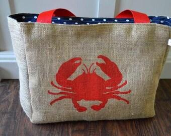 Handmade Crab Burlap Market Tote Bag