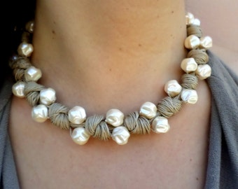 Pearls necklace  Eco-friendly with cotton string - gift ideaTextile jewelry fiber - without metal