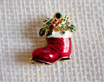 Vintage Santa's Boot Christmas Brooch Pin with Rhinestones