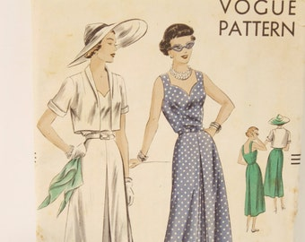 Vintage 1940s Vogue One Piece Dress and Bolero Pattern 6826 size 14