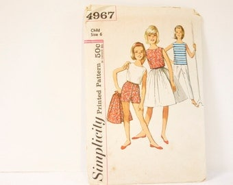 Vintage 1960s Simplicity Child's  and Girl's Skirt, blouse, top and pants in two lengths Pattern 4967 Size 6