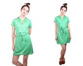 Vintage 60s/70s Mini Dress Medium Kelly Green