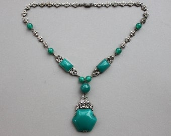 Art Deco Chrysoprase Lavalier Necklace