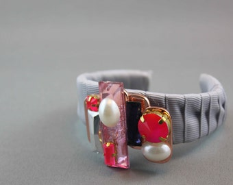 ON SALE Modern Unique SIlver Satin Cuff Bracelet with Rose Gold and Neon Embellishments in Silver, White, Pink and Blue