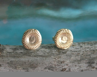 Gold Studs with a Sun Shape - 18k Gold Plated Studs