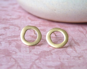 Round Studs - Earrings with a Hoop - Post Earrings in 18 karat Plate