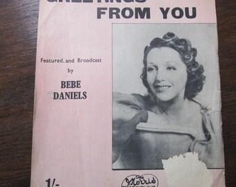 Bebe Daniels Greetings From You Sheet Music 1941