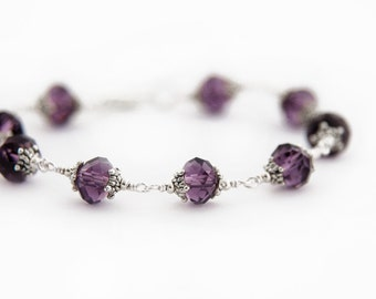 Amethyst Crystal Bracelet, Antique Silver Wire Wrapped Bracelet, Purple Crystal Bracelet