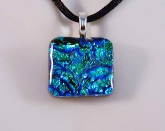 Dichroic Blue Green Fused Glass Pendant, Undulating Ocean Waves