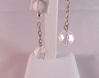 Swarovski Aurora Borealis Faceted Crystal Dangle Earrings on Sterling Silver Chain and French Ear Wires