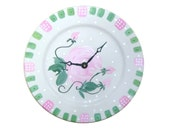 Hand Painted Wall Clock, Ceramic Plate Clock, Pink Roses Clock, Kitchen Clock, Wall Decor, Home Decor No. 1375
