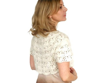 Wedding Shrug Cashmere Bridal Bolero Knitted Jacket Jasmine Lace Hand Knit Ivory Merino Wool XS/S