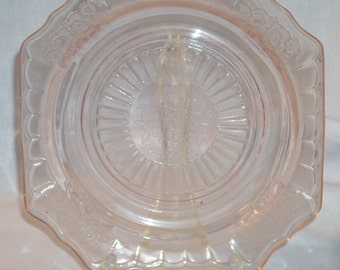 Anchor Hocking Depression Glass Pink Mayfair Rose Square Bread Plate no cup ring