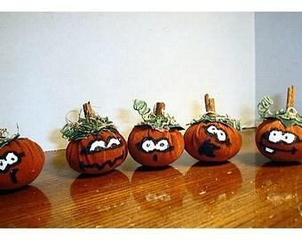 Halloween Suede Pumpkins/Set of 5 /Handmade*