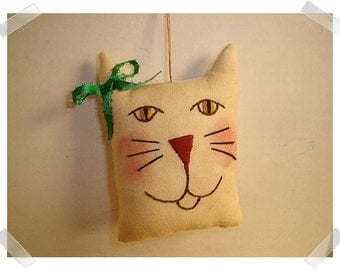 Cat Ornament/ Muslin Fabric /Hand Embroidered **