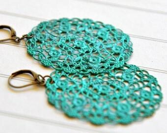 Turquoise Earrings - Hand Painted Filigree - Earrings - Turquoise Jewelry - Dangle Earrings - Bohemian Jewelry