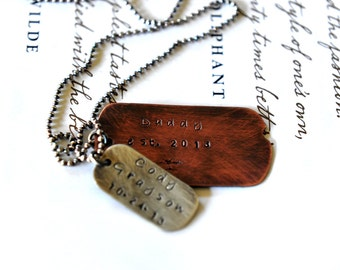 New Dad Gift - Mens Necklace - Military Dog Tags - Rustic Dad Gift - Christmas For Dad - Gift For Dad - Personalized Dog Tag