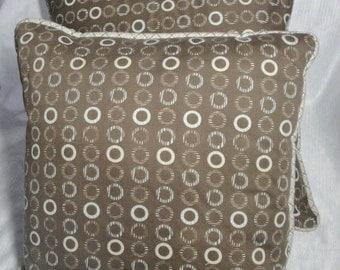 Brown pillow set, modern decor, teal circles, with insert, piping, 18 inch, 16 inch, with insert, piping,