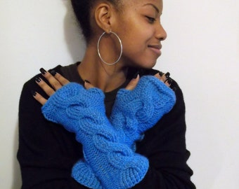 Hand Made Cable Knit Fingerless Gloves, Wrist Warmers, Winter Gloves, Arm warmers,  in COUNTRY BLUE