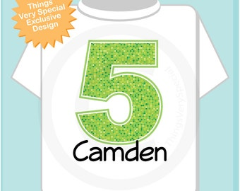 Fifth Birthday Shirt, Lime Green Number 5, 5th Birthday Shirt, Personalized Boy's Birthday Shirt for kids (12312013c)