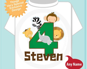 Boy's Four Year Old Jungle Birthday Shirt with Name, Fourth Birthday Shirt, Personalized Jungle Birthday Theme (05212014d)