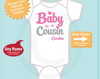 Baby Cousin Pink Grey Script Shirt or Onesie, Personalized Infant, Toddler or Youth Tee Shirt or Onesie Pregnancy Announcement (08292014f)