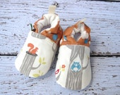 Organic Vegan Trees With Owls  All Fabric Soft Sole Baby Shoes / Made to Order / Babies Squirrel