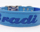 One inch personalized leather dog collar with nylon back  (Sizes 12-22) By Ruggit Collars (with optional buckle engraving)